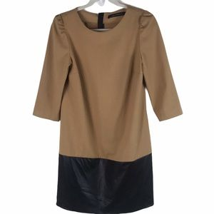 Zara | Faux Leather Color Block Shift Dress Small